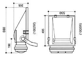 HGFGD-020  一体化大功率1000W金卤灯泛光灯尺寸图